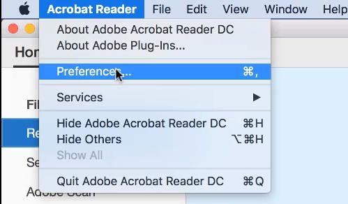 Mac - Adobe Reader Preferences Menu