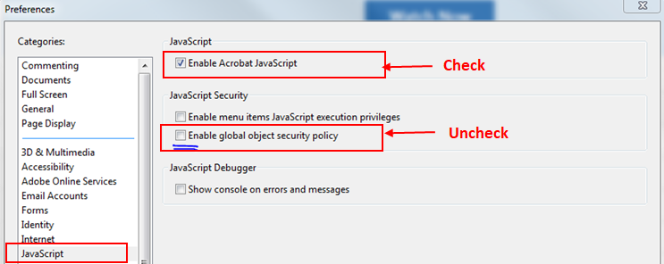 PC - Adobe Reader - Disable Global Object Security Policy